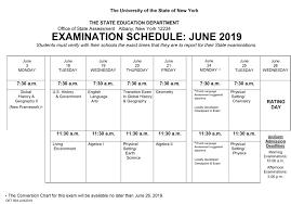 Regents Examination Schedule June 2019 Berlin Central