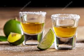 Stock — Photo Odua Slice With © Tequila Shots Lime 127142642 And Salt Two