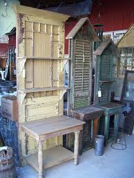 would be good for potting benches dishfunctional designs upcycled new ways with old window shutters love the potting benches made from old doors and