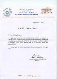 Certification Of Employment Sample Sample Resume Letters Job