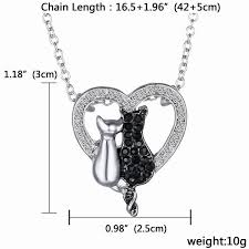 black white plated simple lovely cat pendant necklace for women