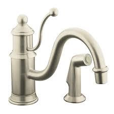 kohler antique single handle standard kitchen faucet with side sprayer in vibrant brushed nickel