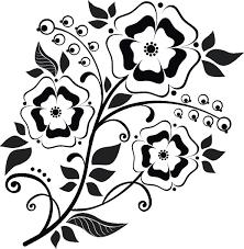 ポップでかわいい花のイラストフリー素材no1154白黒玉鈴茎葉