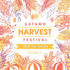Autumn Harvest Festival Poster With Harvest Symbols Leaves And