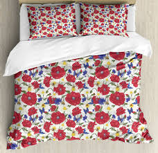fl queen size duvet cover set blooming red poppies with 2 pillow shams
