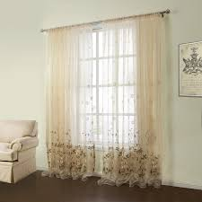 curtains sheer curtains one panel country embroidered beige fl pattern polyester cotton sheer curtains 03
