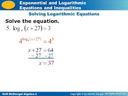 7 solving logarithmic equations