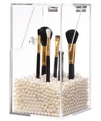 PuTwo Makeup Brush Holder Dustproof Storage Box Premium Quality 5mm Thick  Acrylic Makeup Organizer, White