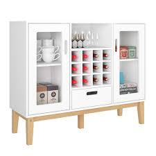 Homecho Bar Weinschrank Buffetschrank Weiß Sideboard Mit 12 Flaschen Weinregal Anrichte Für Küche Wohnzimmer Arbeitszimmer Keller 100x805x33