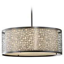 modern drum pendant light with white glass in polished nickel