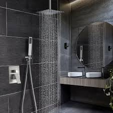 brushed nickel shower system. Khrodis Ceiling Shower System Brushed Nickel With High Pressure 12 Inch Rain Head Faucet