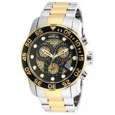 black and gold watch invicta pro diver chronograph black and gold dial two tone mens watch 19839
