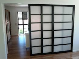 interior-ideas-black-stained-wooden-frame-sliding-door-