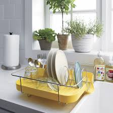 ... Kitchen dish rack, Rack Kitchen Simple Yellow Color Modern Made Of  Stainless Steel Of Plastic ...