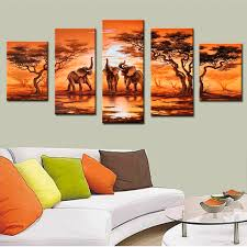 >5 pieces canvas painting african modern art elephants live wall  5 pieces canvas painting african modern art elephants live wall decoration pictures handmade landscape oil painting unframed in painting calligraphy from