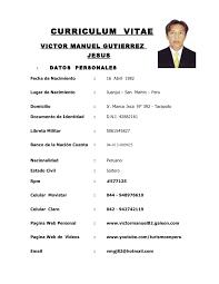 Modelo De Curriculum Vitae Peru Modelo De Curriculum Vitae
