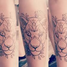 Jay Cee Lioness And Flowers Shin Tattoo Lioness Tattoo Design Leg