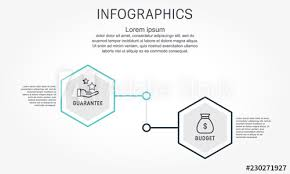 Flat Line Vector Illustration Infographic Template With Two
