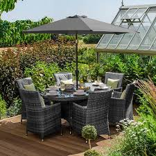 sienna 6 seat oval dining set grey at