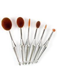 6pcs toothbrush design makeup brushes kit silver