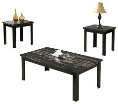 3 piece wooden block legs black faux marble top coffee end occasional table set