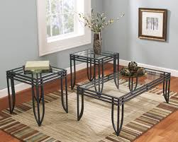 furniturema matrix 3 in 1 accent table set w black metal frame coffee 2 end table sets
