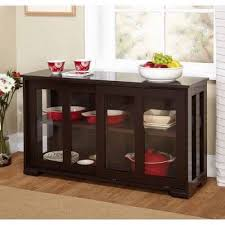 sideboard buffet server cabinet table espresso stackable storage glass doors