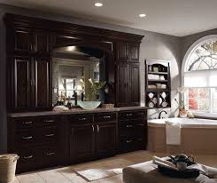 dark wood cabinets. Contemporary Cabinets Dark Wood Cabinets In A Traditional Bathroom For