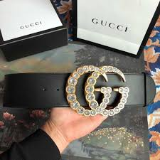 gucci leather belt with crystal double g buckle dopestkickz