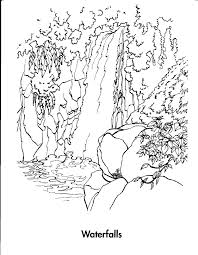 Waterfall 7 Nature Printable Coloring Pages With Coloring Page