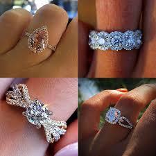 2019 Luxury <b>Female Crystal Zircon Stone</b> Ring Vintage 925 Silver ...