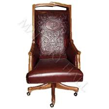 Custom made office chairs Office Furniture Custommade Office Chair With Loglike Wood Framing And Base And Tooled Design On Leather Back Specifications Width 25 Depth 27 Ht 48 Pinterest Custommade Office Chair With Loglike Wood Framing And Base And
