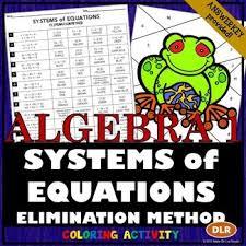 equations elimination method activity