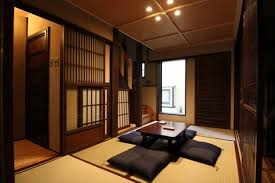 Dining Room:Cool Japanese Dining Room Design With Long Wood Dining Table  And Orange Cushion