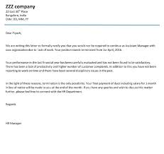Employee Performance Letter Sample Company Termination Letter Download Termination Letter