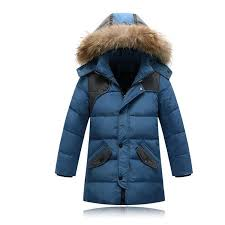 children duck down outerwear boys winter jacket kids coat with fur hood long warm thick winter coats