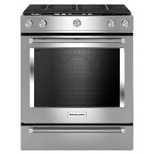 slide in gas range with self cleaning convection oven in stainless steel