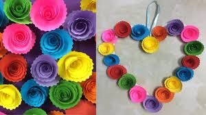 Homemade Paper Flower Decorations Diy Paper Rose Wall Hanging Easy Wall Decoration Ideas Simple