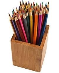 devis premium bamboo wood desk pen pencil holder cup stand for pens,  utensils, mobile