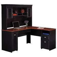 image of antique black l shaped desk