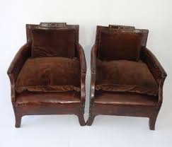 vintage leather club chairs. Vintage Leather Club Chairs Pair Of Small French Mecox Gardens