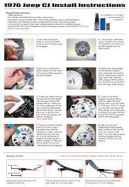 jeep cj cj mph dash cluster white face gauges  volts gauge printed install instructions
