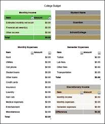 Excel College Budget Template Plan Family Student – Tomray