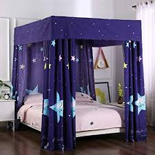 Mengersi Galaxy Star Four Corner Post Bed Curtain Canopy Bedroom Decoration for Girls Adults Windproof Lightproof Bed Canopies Child Gift (Queen,Navy ...
