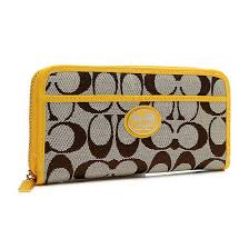 Coach Legacy Accordion Zip In Signature Large Yellow Wallets EUV