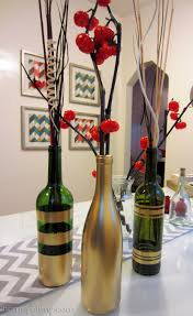 Wine Bottle Decorations Handmade DIY Spray Painted Wine Bottles For Fall Decorating 28