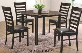 5 pc seattle espresso finish wood 42 round dining table set this set includes