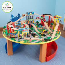 kidkraft 17985 city explorer s train set and table including 80 pieces of track and cityscape scener from skysers to towering trestle bridges