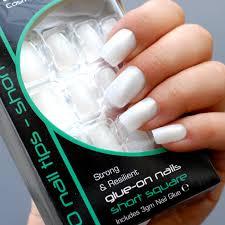Royal Bílé Mléčné Umělé Nehty 30 Glue On Nail Tips Nails Sada 30ks S Lepidlem Short Square