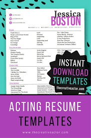 8x10 Actor Resume Templates Instant Download Acting Resume